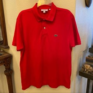 LACOSTE Red Polo Classic Fit Top Size XL